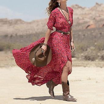 المرأة الصيف الشيفون ماكسي اللباس زر الأزهار طباعة مثير ديب V الرقبة الطرف