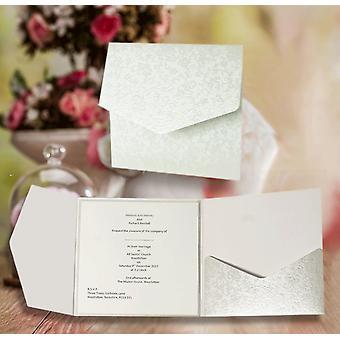 10 GLORIANA Square Dandy White Applique Pocketfold Convites