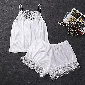 Women Satin Sexy Lingerie Lace Pajamas Set, Elegant Sleeveless Top And Shorts