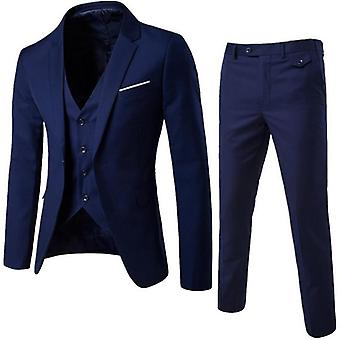 Business Blazer +vest +pants Suit Sets, Men Autumn Solid Slim Wedding Set,