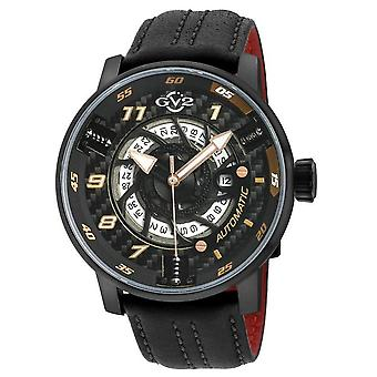 GV2 Motorcycle Mens Black Dial Black Calfskin Leather Watch