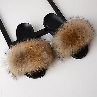 Women Real Fox Fur Slides Home Furry Flat Cute Fluffy House Shoes