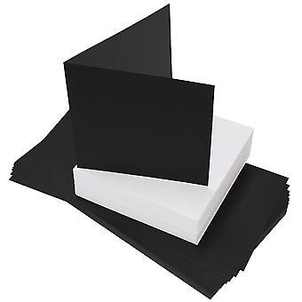 Craft UK Black Cards & White Envelopes 6x6 Inch