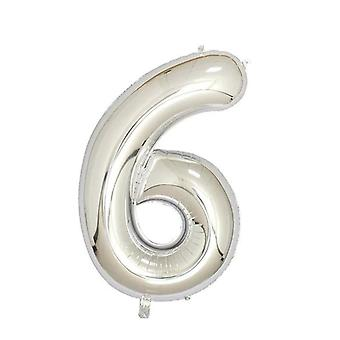 "Silver foil party balloon - 80cm (32"") - number 6"