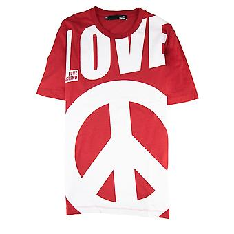 Love Moschino Love Peace Logo stampato T Shirt Rosso
