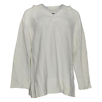 Martha Stewart Mujeres's Suéter con capucha V cuello camiseta blanca A351512