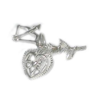 Love Set Sterling Silver Charme Rose Coeur Flèche .925 X 1 Charmes aimants - 4690