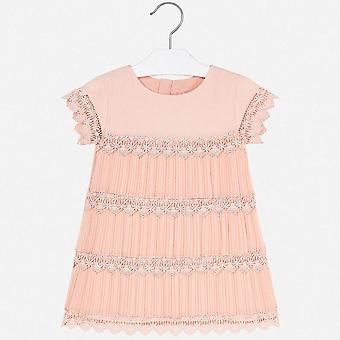 Mayoral girls pleated layered peach dress 3917