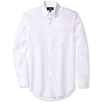 "BUTTONED DOWN Men's Classic Fit Button-Collar Non-Iron Dress Shirt (Pocket), White, 17.5"" Neck 33"" Sleeve"