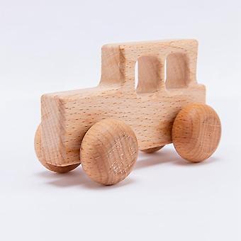 Wooden Beech Wood Block Car Cartoon Educational Montessori Toy