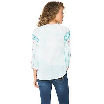 Desigual  Turquoise Ion 3/4 Sleeve Embroidered Blouse