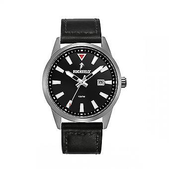 Ruckfield Watch 685059 - Dateur Bo tier Steel Grey Bracelet Black Leather Men
