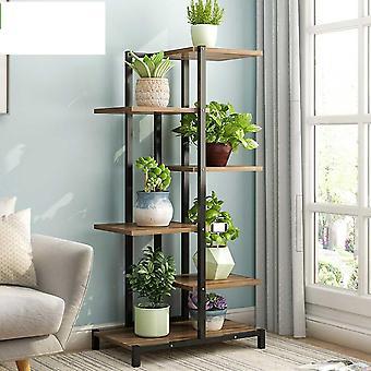 5 Tiers Wooden/iron Bookshelf & Plant Rack Display Shelf Home Yard/garden Patio