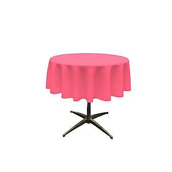 La Lino Poliéster Poplin Mantel 51 pulgadas redondo, rosa caliente