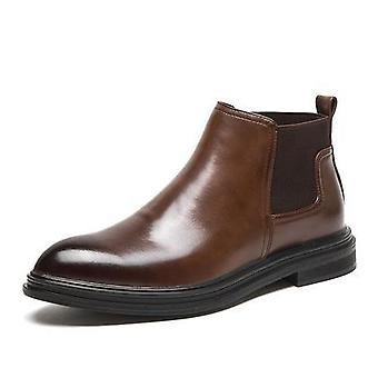 Spring Winter Fur Men's Chelsea Boots, Leather Casual Shoes, Male Slip-on