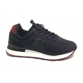 Running Men's Starter Sneaker In Nylon/ Suede Dark Blue/ Red U20st04