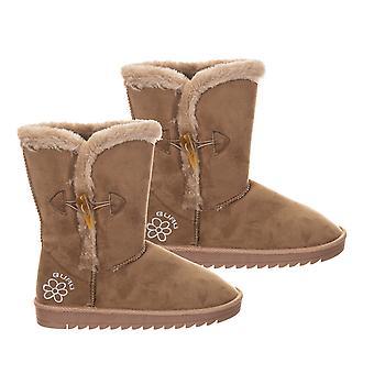 GURU kvinner vinter fluffy ankelstøvletter med knappelukking (størrelse 6) - brun
