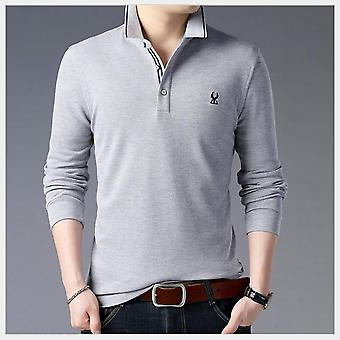 Men's Clothing In The Autumn Of The New Business Men T-shirt Lapel Long Sleeve Polo Unlined Upper Garment Fashion City T-shirt