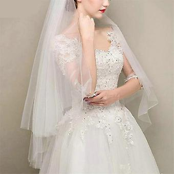 Semplici veli da sposa a due strati Avorio Bianco Bianco Corto Tulle Velo nuziale