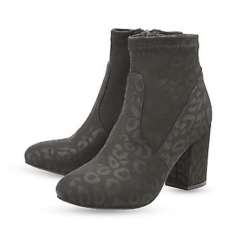 Ravel Black Stebbins Leopard-Print Heeled Ankle Boots for Women and Girls