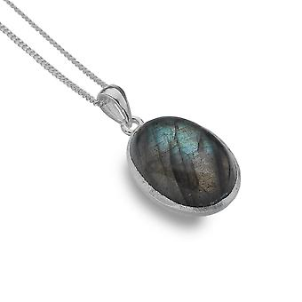 Sterling Silver Pendentif Collier - Origins Labradorite Oval Large