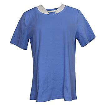 Isaac Mizrahi En direct! Top Essentials Femmes Scoop Neck T-Shirt Bleu A379429