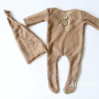 Horgolt Mohair Baby Clothes Újszülött Photography Kellékek Kalapok Romper Set Indoor
