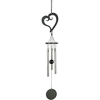 tuulipeli sydän 35 cm teräs musta/hopea 3-osainen