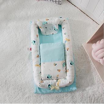 Baby bärbar spjälsäng, stötfångare bomull, barnsäng sovkorg, skyddskudde, kudde