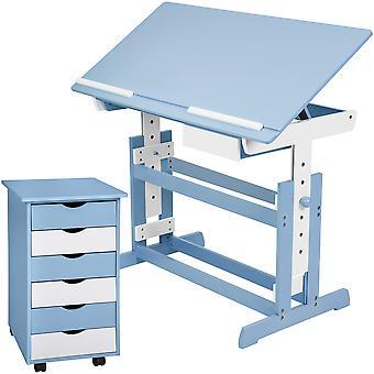 tectake Børneskrivebord og Rulleskab - blå