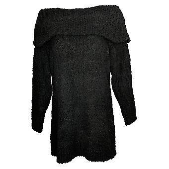 Nina Leonard Women's Sweater Mixed Yarn Novelty Knit Tunic Black 730454