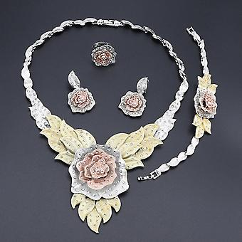 Women Party Bridal Fine Crystal Rose Flower Necklace Jewelry Sets