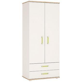 Kiddie Two Doors Two Drawers Bedroom Wardrobe Lemon Les