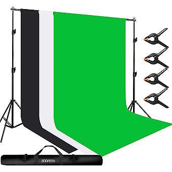 HanFei 3x2m Hintergrund Unterstützungssystem mit 1,8 x 2,8 Meter Hintergrund Musselin Kulisse (grün