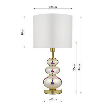 Table Lamp Multi Coloured With Round Drum Shade