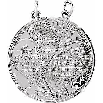 925 Sterling Silver Höger Polerad Mizpah Mynt Hänge Halsband Smycken Gåvor för Kvinnor - 2,0 Gram