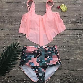 ملابس السباحة فتاة تقسيم مثير بيكيني الشاطئ flounced ملابس السباحة النسائية