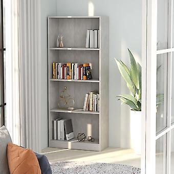 vidaXL Bücherregal 4 Fächer Betongrau 60 x 24 x 142 cm Spanplatte