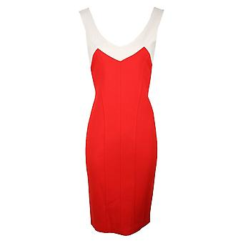 Isabel De Pedro Red & Cream Sleeveless Stretch Panel Dress