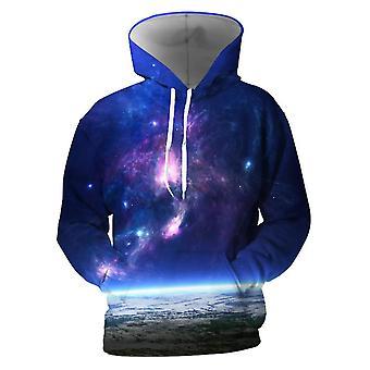 Herre 3d farverige Galaxy trykt Lapis Blå hættetrøjer med lommer (XXL)