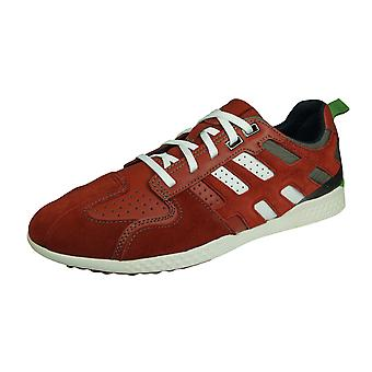 Geox U Snake 2 A Mens Suede Trainers / Sneakers - Red