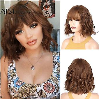 Synthetic hair wig purple/red/grey light ash medium wave wig  heat resistant fiber daily false hair