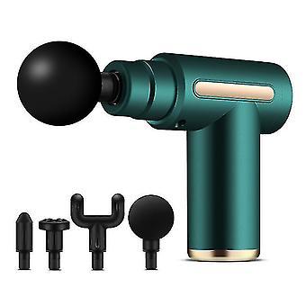 Type-c lataus kannettava hierontapistooli sähköinen syvä lihas värähtely helpotus fitness fascia gun (Vihreä)