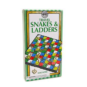 Juego de serpientes magnéticas de viaje en caja y escaleras para niños