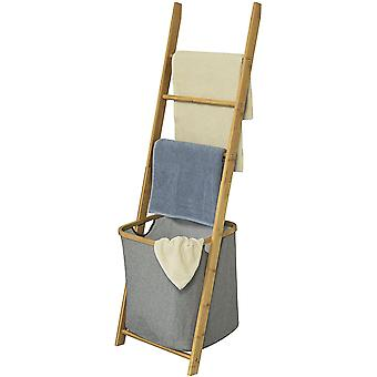 SoBuy soporte de toallas de baño con 3 rieles colgantes y cesta de lavandería extraíble, FRG263-N