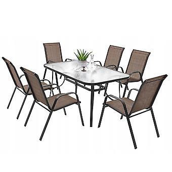 Tuintafel set met 6 tuinstoelen - 140 x 80 cm - gehard glas