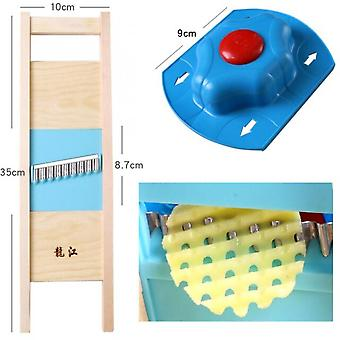 Manual Potato Grid Slicer Wooden Vegetable Chopper Potato Chips Slicing Tool Stainless Steel Blade With Cutter Finger Guard