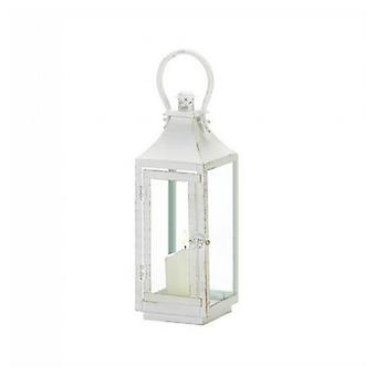 Gallery of Light Distressed White Metal Candle Lantern - 12 inches, Pack of 1