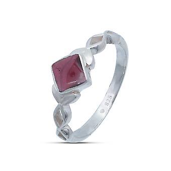 Ring Silver 925 Sterling Silver Garnet Red Stone (Nr: IRM 178)