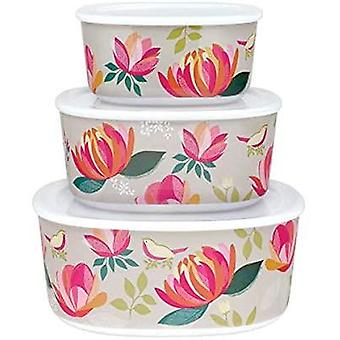 Sara Miller Peony Floral 3x  Stackable Storage Containers Kitchen Organisers